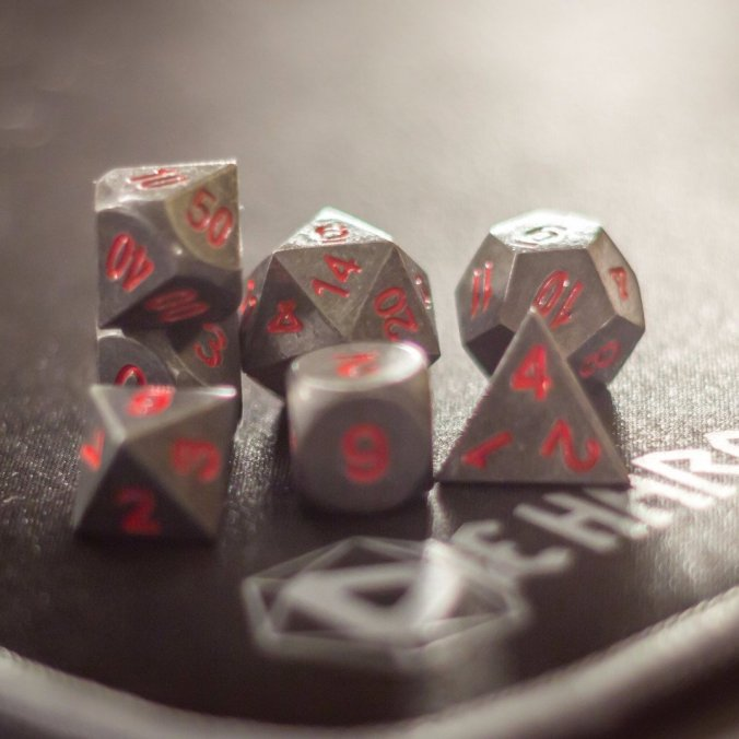 RPG Set Die Hard Metal Dice in Raw Steel, Red