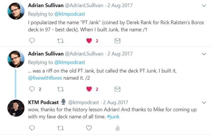 Adrian Sullivan tweets me back about Junk
